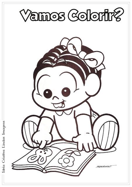 Desenho Baby Mônica estudando para colorir