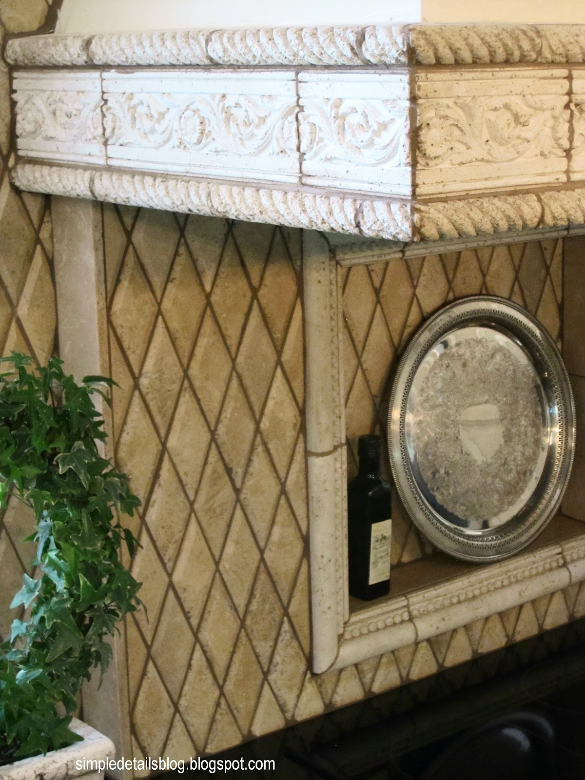 Beveled harlequin tiles lend a rustic texture, I took them to ceiling