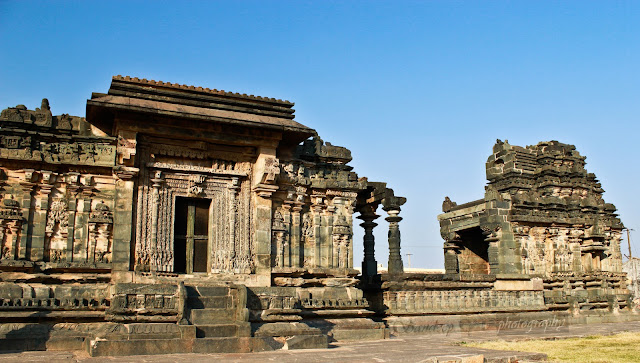 Kashivishwanatha shrine(left) and the Suryanarayana Shirne(right) from the south view