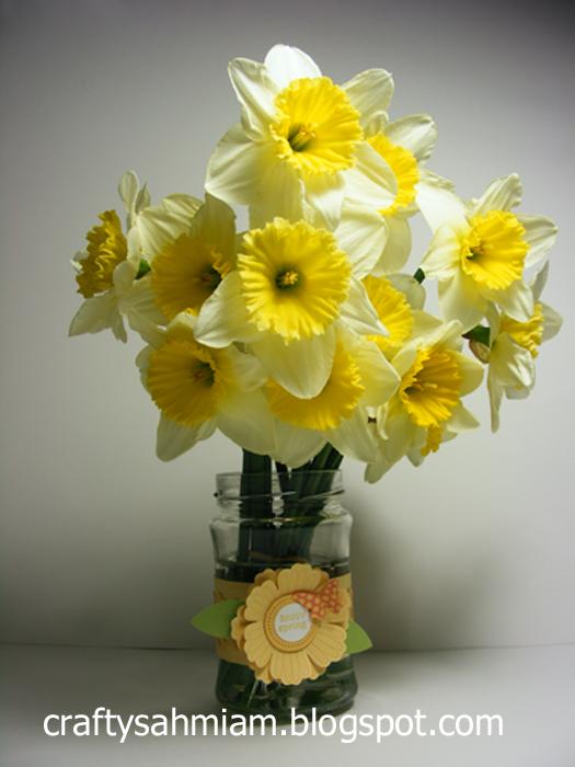 crafty sahm i am: Repurposed Jar = Flower Vase on cheerful flowers, photography flowers, decorating flowers, reading flowers, awesome flowers, cute flowers, random flowers, chic flowers, artsy flowers, love flowers, knitting flowers,
