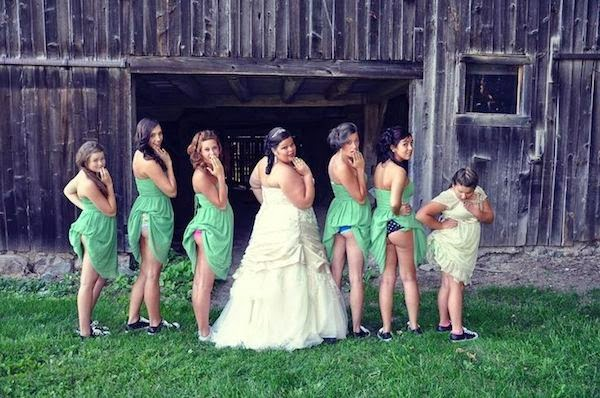 Bridesmaids showing butts