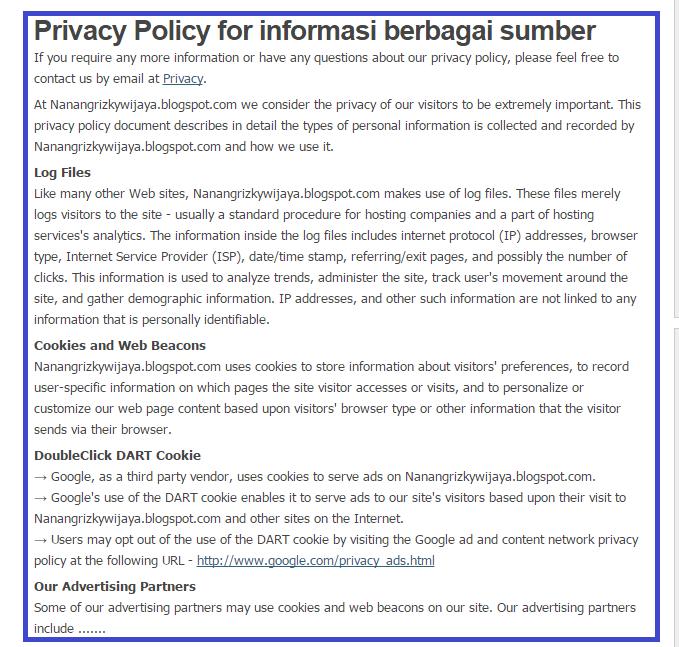 Cara Membuat Privacy Policy Blogspot Terbaru