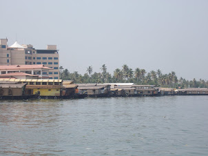Rows of Kettuwallama(Boathouses) parked along Alappuzha coast.