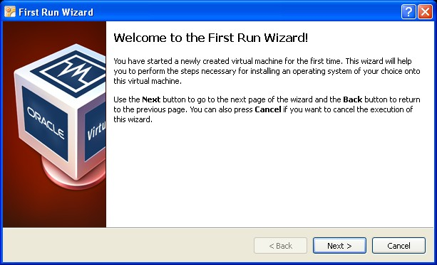 First time run wizard