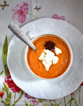 chilled fruit soup for summer | papaya and orange soup with feta cheese and hint of star anise