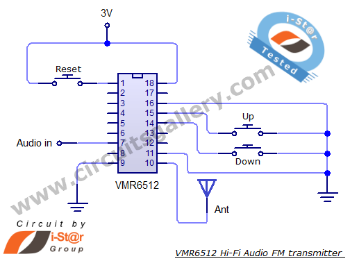 VMR6512+FM+transmitter+circuit+diagram Simple FM Transmitter circuit schematic Long range, short range using VMR6512 Hi Fi Audio FM transmitter module