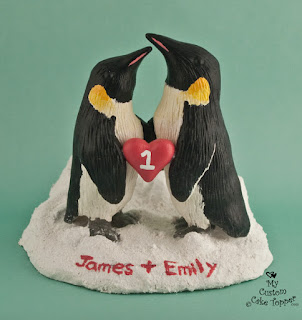 penguin sculpture, penguin wedding cake topper, custom sculpture, realistic penguin sculpture