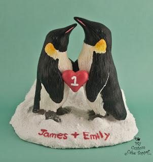 penguin sculpture, penguin wedding cake topper, custom sculpture, realistic penguin sculpture