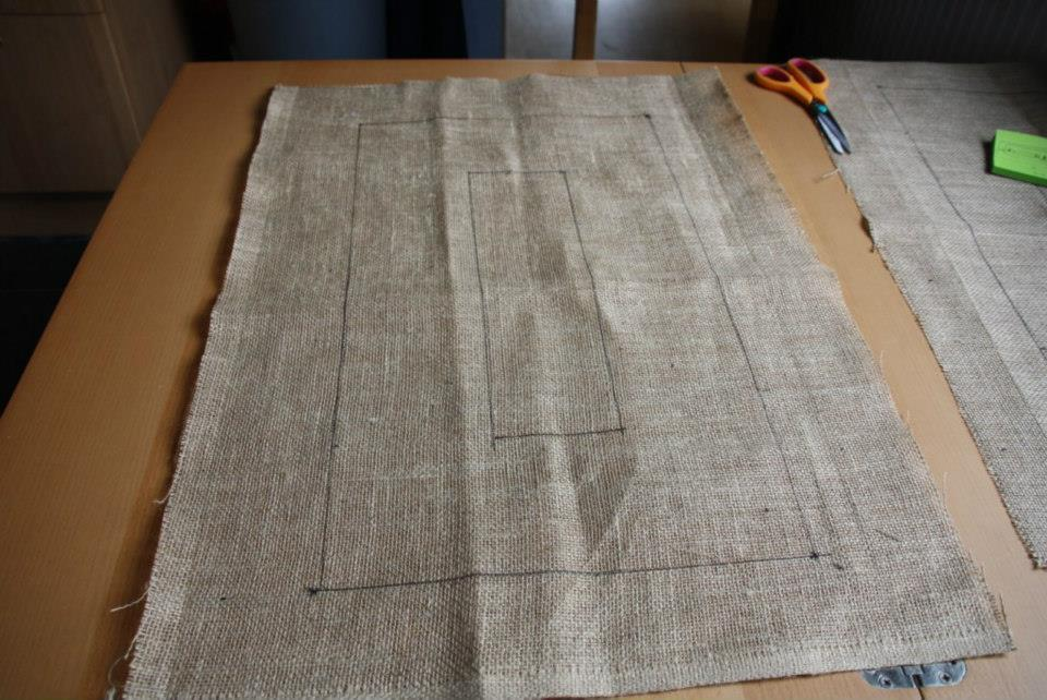 Step 1 Cut Your Hessian Backing To Size And Draw On The Design If You Are Using One