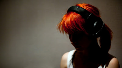 Cute Orange Womens Hair With Headphones