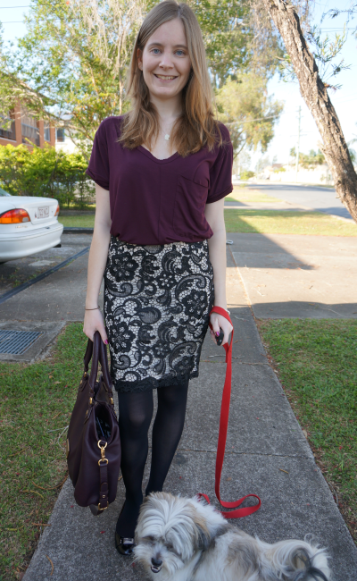 Office wear lace pencil skirt and burgundy tee