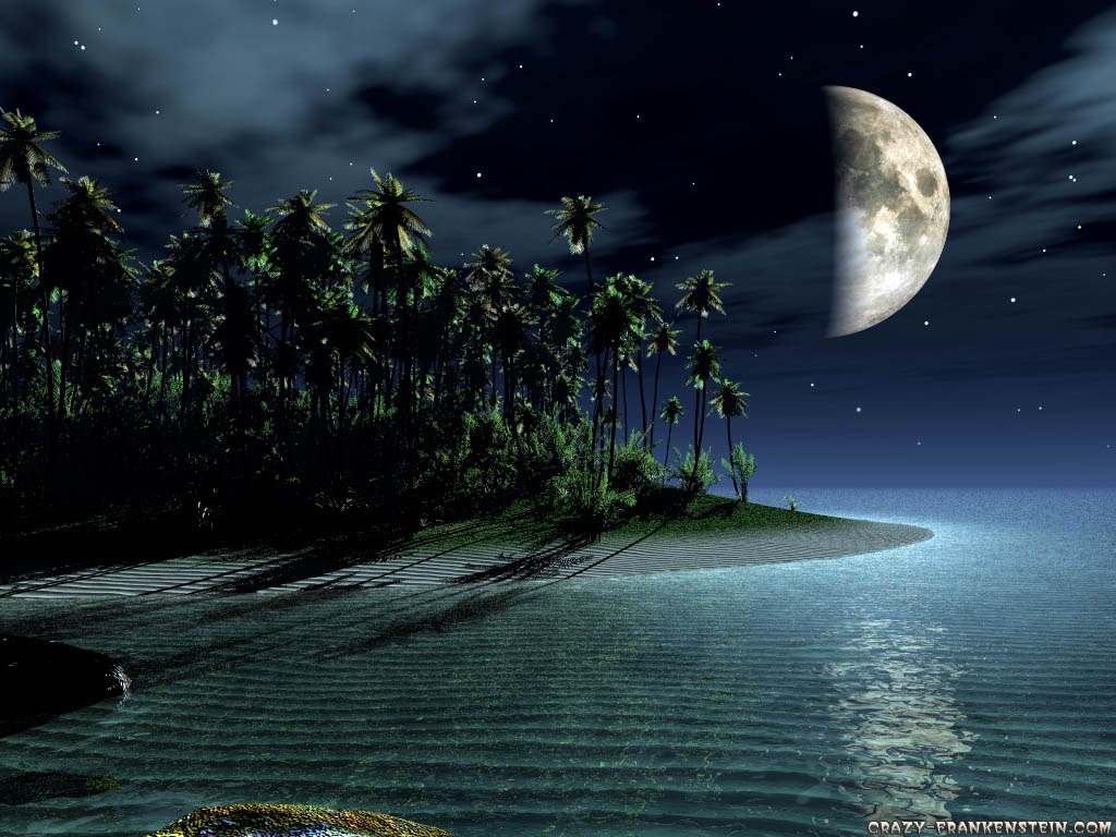 Landscape Wallpapers ~ Landscape Wallpapers|HD Wallpapers|Nature wallpaper,island-and-moon-3d-landscape-wallpapers
