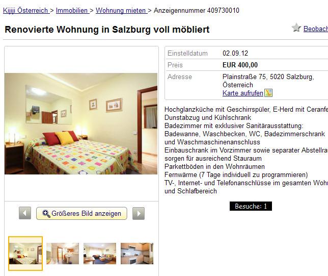 renovierte wohnung in salzburg voll m bliert plainstra e 75 5020. Black Bedroom Furniture Sets. Home Design Ideas