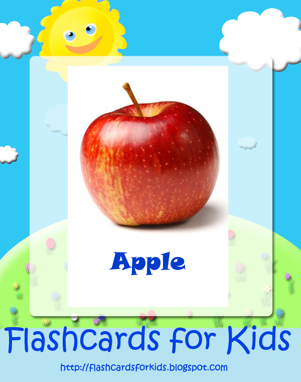 Vocabulary cards food apple