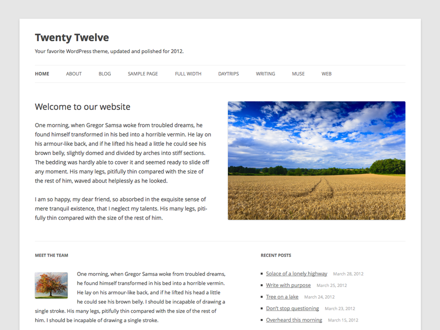 Download Twenty Twelve Theme for Wordpress