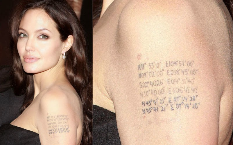 angelina jolie tattoos latitude and longitude
