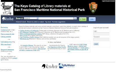 Screenshot of the Keys Catalog of Library materials