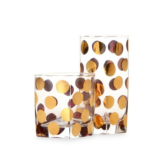 gold polka dot drinking glasses