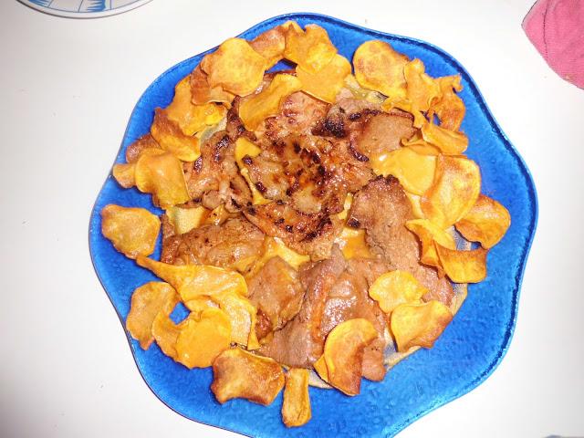 Presa de cerdo marinada con boniato en texturas