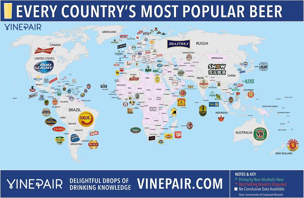 Sabés cuál es la cerveza más popular en cada país?
