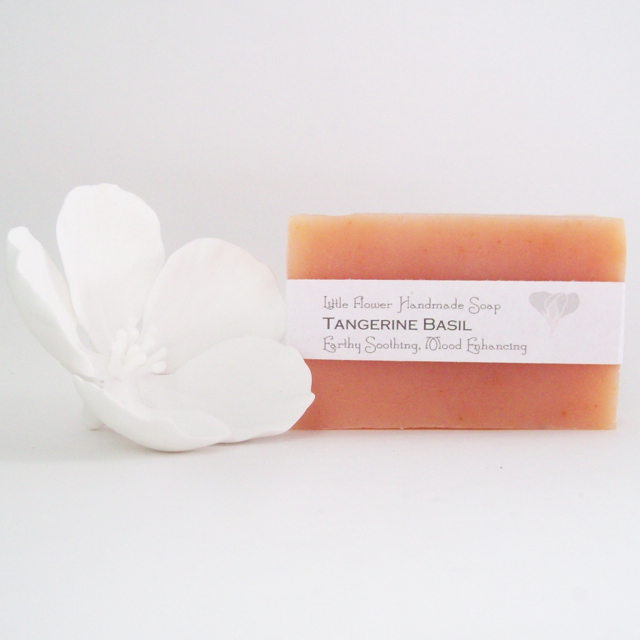 all natural soap tangerine basil soap michigan made soap little flower soap co citrus soap farmhouse soap cottage soap Moisturizing shea soap
