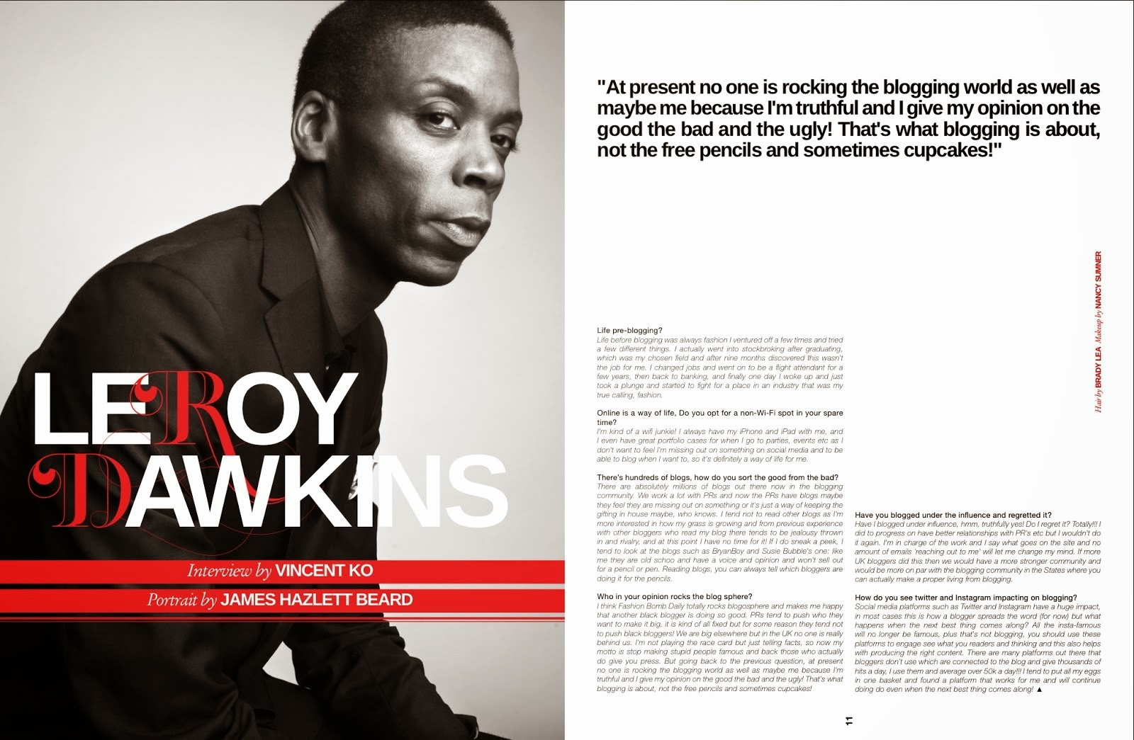 MY DOUBLE PAGE SPREAD AND EXCLUSIVE INTERVIEW WITH HOMME STYLE MAGAZINE