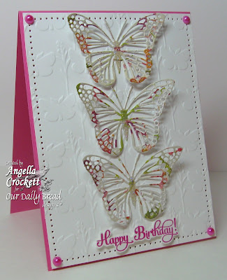Our Daily Bread designs Butterfly Embossing Plate, Birthday Blessings, Designer Angie Crockett