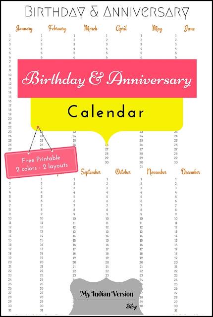 Birthday Anniversary calendar free printable Pinterest