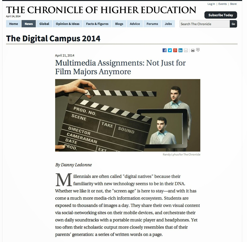 http://chronicle.com/article/Multimedia-Assignments-Not/145939/?key=HG1ydFQ/PndJZnFgMjZBYT4Ab3BuNh8lYnFHOn57blxRGQ==