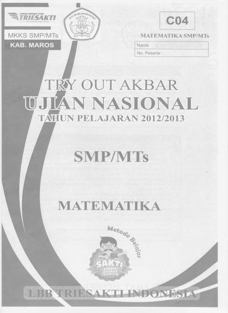 TRY OUT UJIAN NASIONAL 2013