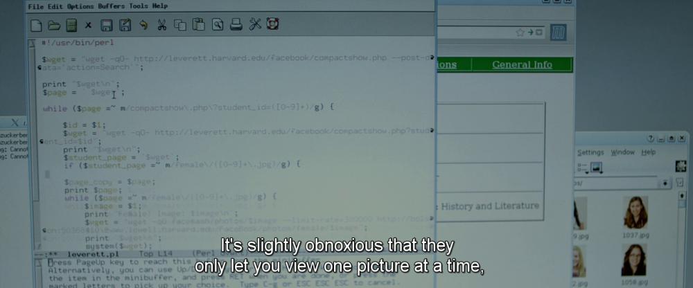 Код, показанный в «Социальной сети» Дэвида Финчера, был написан специально для фильма.