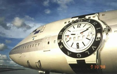 Advertising for Bulgari designer watches in Alitalia Boeing 747