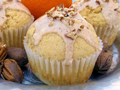 Satsuma Muffins with Brown Butter Pecan Glaze