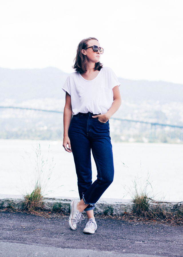 White and denim on Jenaly Enns of In My Dreams, a Vancouver, Canada Personal Style and Fashion blog.