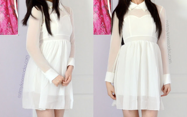 Front and side views of the long-sleeve mesh-paneled skater dress from WalkTrendy, a dupe of the popular Arrogant Cat London Skater Dress style.
