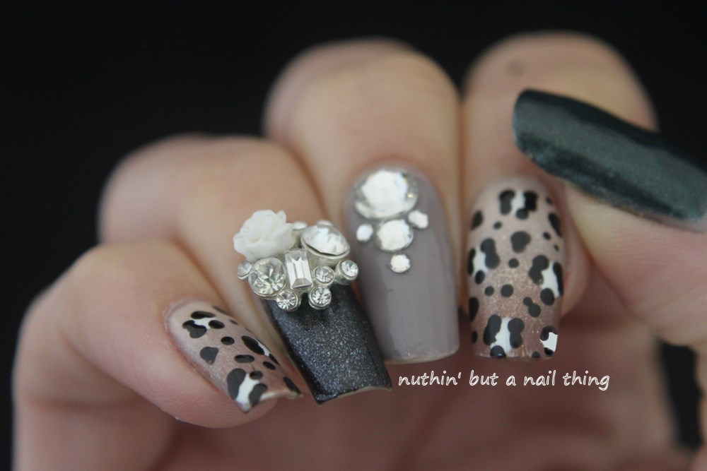Nuthin but a nail thing sparkly leopard print nail art sparkly leopard print nail art design ideas prinsesfo Choice Image