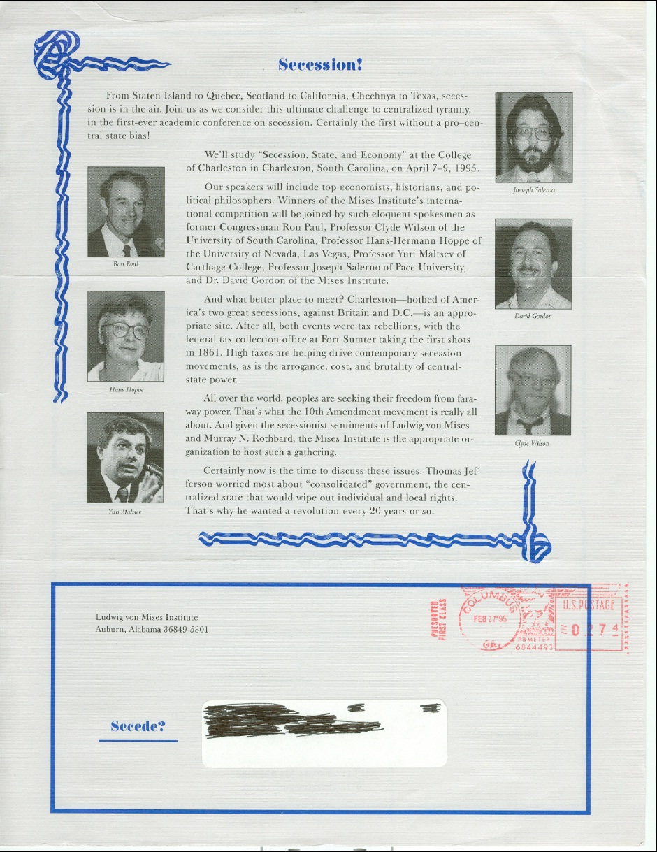 Write a letter to ron paul