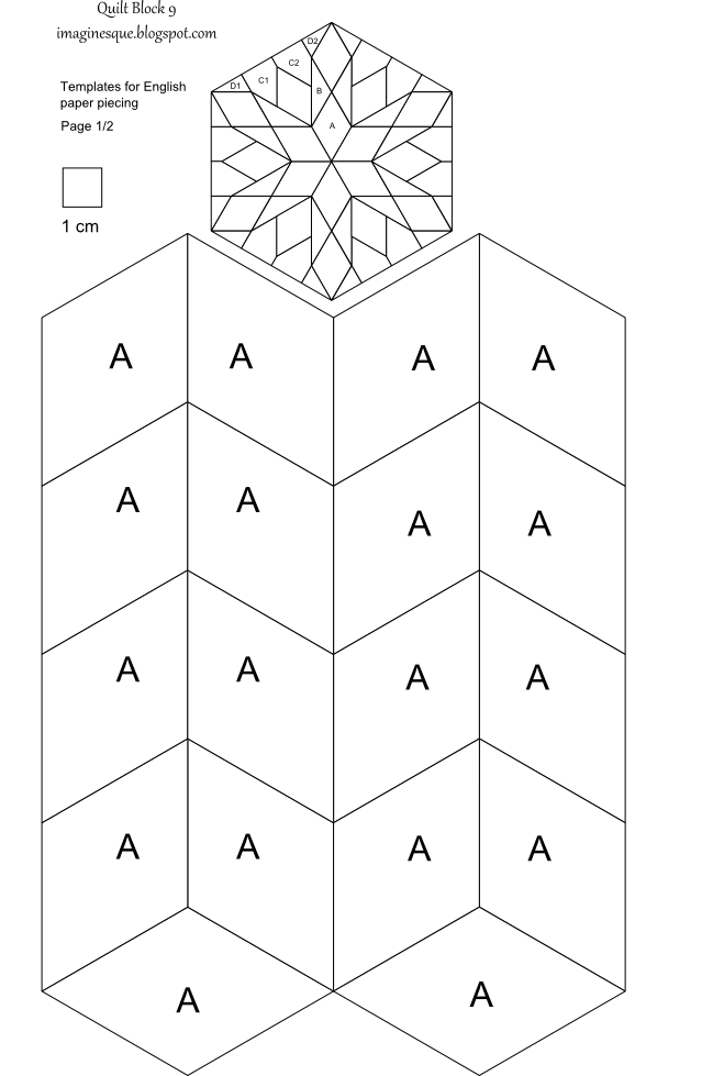 imaginesque  quilt block 9  pattern and template