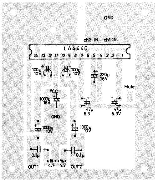 PCB Layout Circuit diagram for LA4440 Audio Amplifier 2x6w / 1x19W