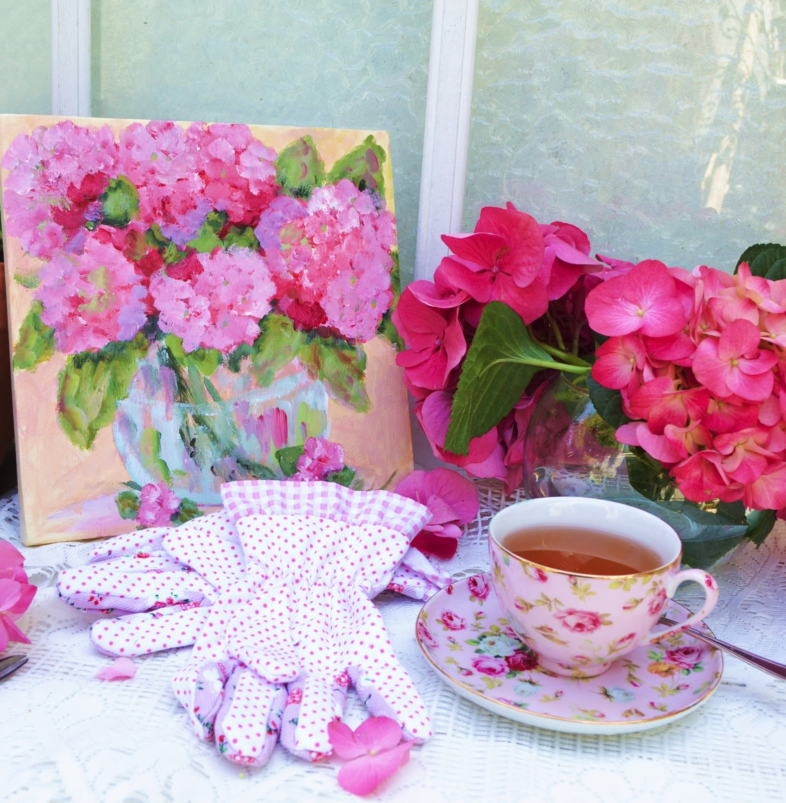 My Painted Garden Painting Pink Hydrangeas