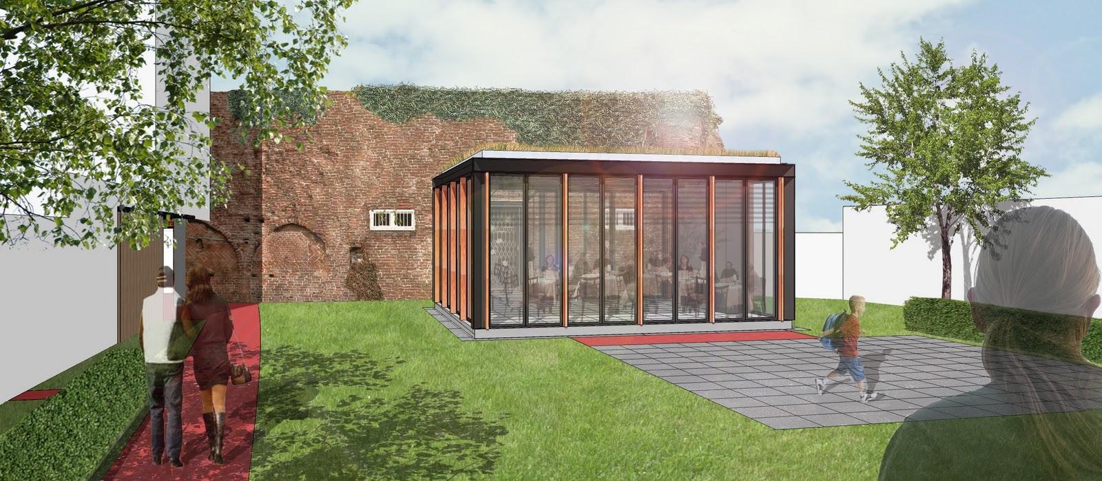 Cell studio architecten start bouw paviljoen hortustuin - Bouw een overdekt terras ...