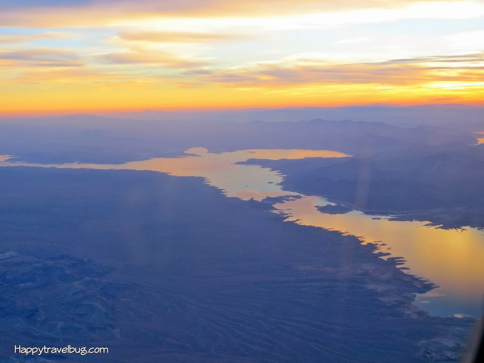 A lake and sunset as seen from my airplane window...Happytravelbug.com