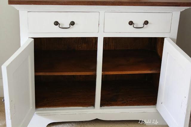 White hall cupboard inside