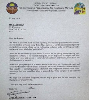 Tolentino's letter to Dan Brown