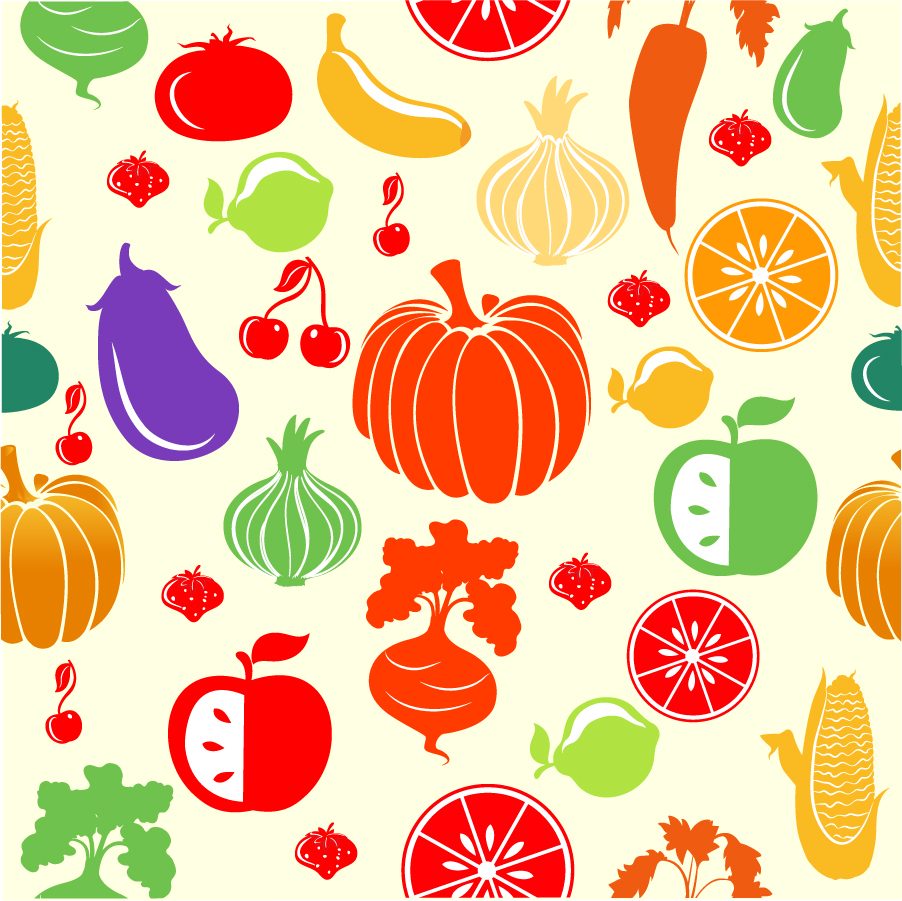 カラフルな果実と野菜のパターン Fruit and Vegetable Pattern イラスト素材