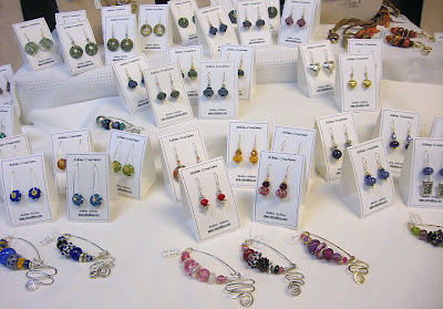 beaded earrings, fibula pins by Robin Atkins