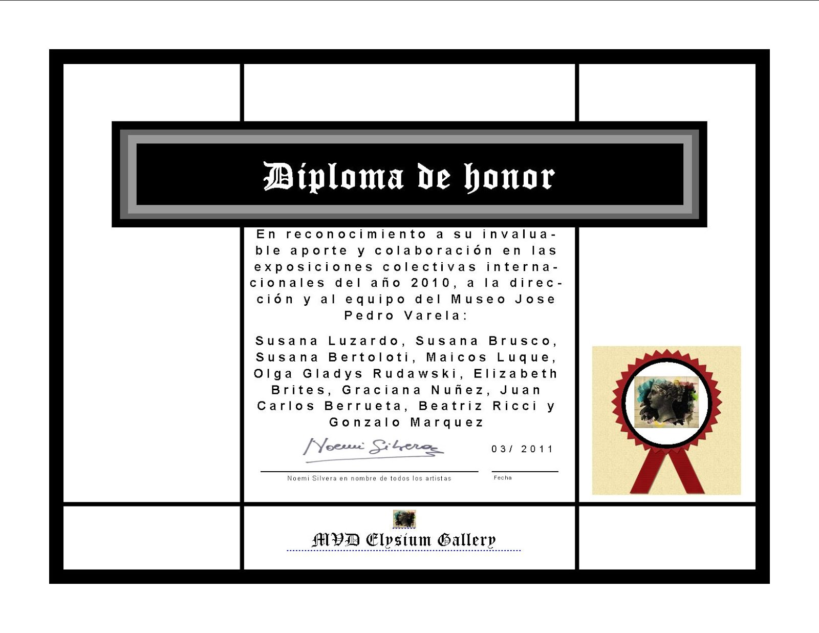 DIPLOMA DE HONOR x artists by Fridetta