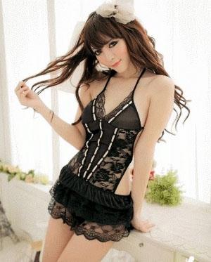Baju lingerie seksi - model dress terusan warna hitam dan mix pink ...