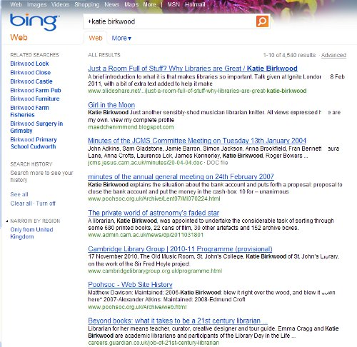 Screenshot of a Bing search for Katie Birkwood