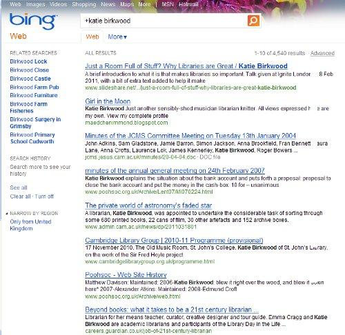 Screenshot of a Bing search for Katie Birkwood
